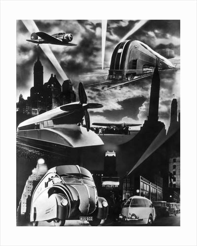 1930s Futuristic Art Decco Streamline Design Modes Transportation Car Train Plane Propellor Truck by Corbis