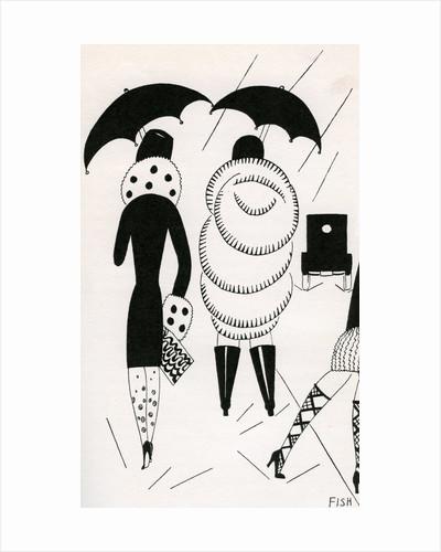 Illustration of Women Walking in Rain by Anne Harriet Fish