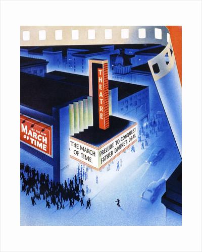 Art Deco movie theater on opening night by Corbis
