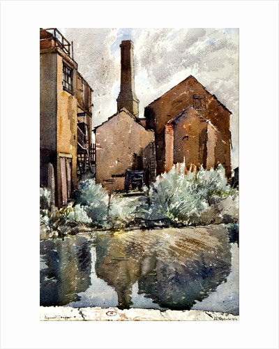 Canal at Middleport, A Mill Chimney by Reginald Haggar