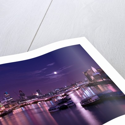 London skyline, river thames and Blackfriars bridge at night by Assaf Frank