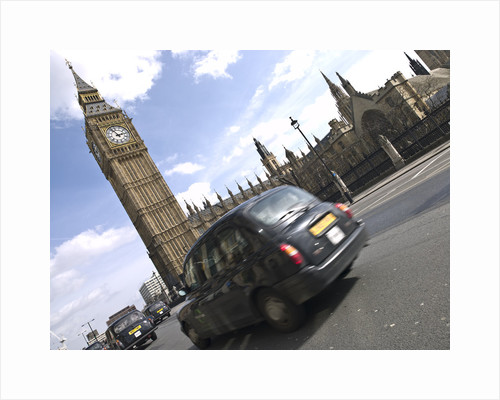 Taxi on road with big ben in background, London by Assaf Frank