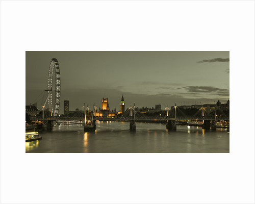 London, River Thames, London Eye, Waterloo Brigde and Houses of Parliment at night by Assaf Frank