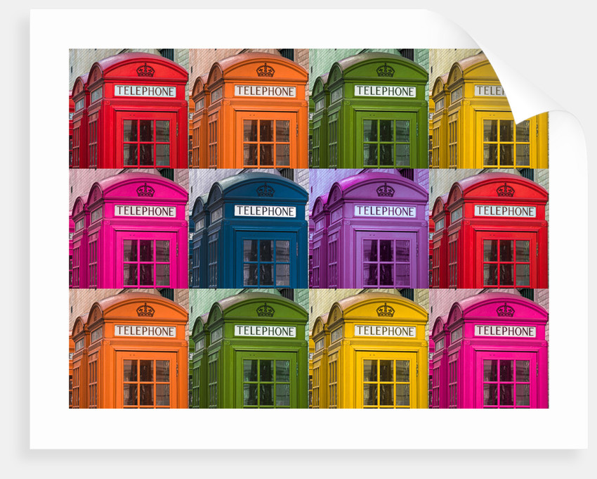Muti coloured telephone boxes by Assaf Frank