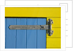 32 Number Sign on Beach hut close-up, Blue Background by Assaf Frank