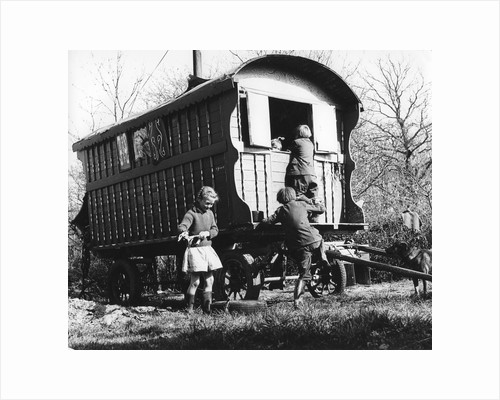 Gypsy children playing outside their caravan, 1960s by Tony Boxall