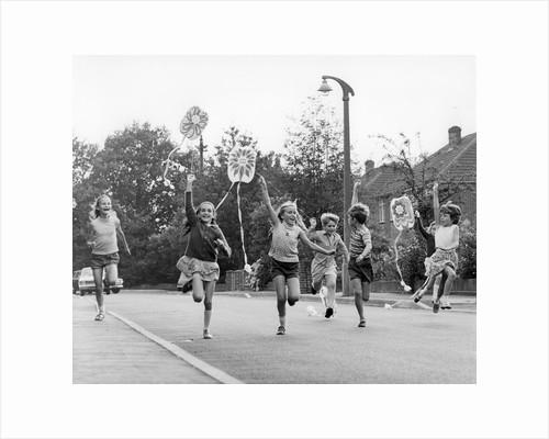 Children flying kites, Horley, Surrey, c1965-1975(?) by Tony Boxall