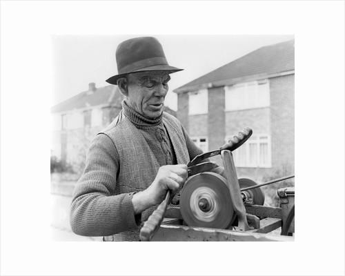 Gypsy knife-grinder, Horley, Surrey, 1964 by Tony Boxall