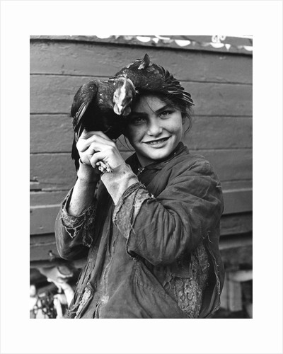 Gipsy girl holding a chicken, 1960s by Tony Boxall