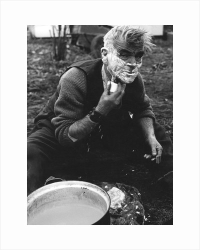 Gipsy shaving, Lewes, Sussex, 1964 by Tony Boxall