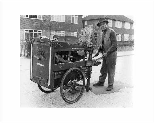 Gipsy knife-grinder with his handcart, Horley, Surrey, 1964 by Tony Boxall