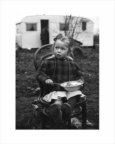 Gipsy girl eating, Lewes, Sussex, 1964 by Tony Boxall