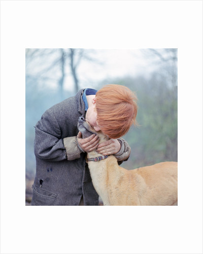 Gipsy boy with a dog, Charlwood, Newdigate area, Surrey, 1964 by Tony Boxall