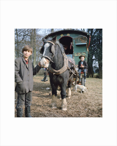 Gipsies with their horse-drawn caravan, Charlwood, Newdigate area, Surrey, 1964 by Tony Boxall