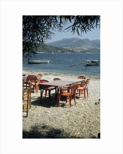 Harbour taverna, Ligia, Levkas, Greece by Tony Boxall