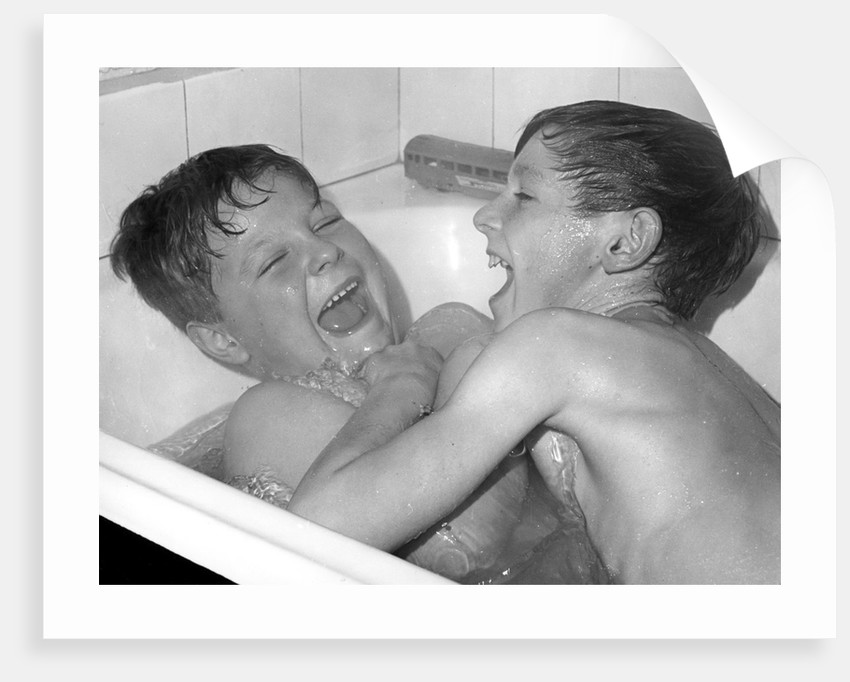Two boys playing in the bath, Horley, Surrey, c1960-1979(?) by Tony Boxall