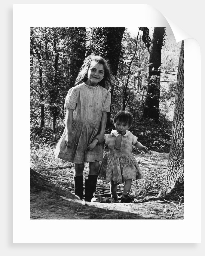 Janie and Daphne, gipsy girls, Charlwood, Surrey, 1964 by Tony Boxall