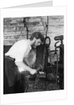 Black Country Museum, Birmingham, West Midlands, 1986 A blacksmith at work in a smithy by Tony Boxall