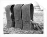 Basket shelters on a beach in Belgium, 1966 by Tony Boxall