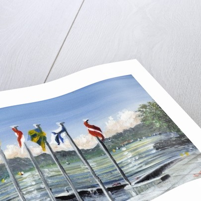 Flags on Lac Leman by Vincent Alexander Booth