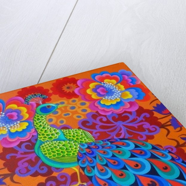 Peacock with flowers by Jane Tattersfield