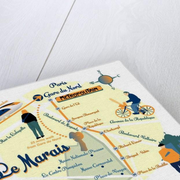 Map of Le Marais, Paris by Claire Huntley