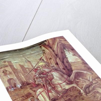 St. George and the Dragon, scene from the predella panel of the 'Madonna della Rondine' altarpiece by Carlo Crivelli