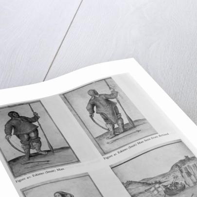 Eskimo Man; Eskimo Man Seen from Behind; Eskimo Woman and Baby; Englishmen in a skirmish with Eskimos by John White