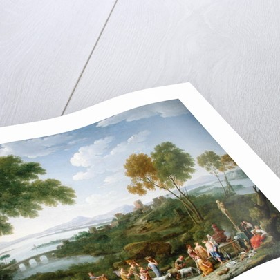 An Extensive Italianate Landscape with a Sacrifice by Hendrik van Lint