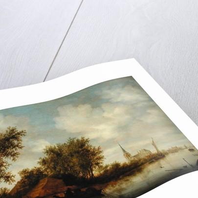 River Landscape with Church by Salomon van Ruisdael or Ruysdael
