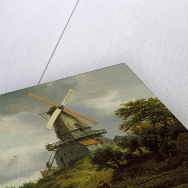 Windmill by a River by Jacob Isaaksz. or Isaacksz. van Ruisdael