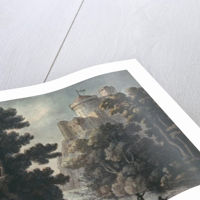Landscape with castle on a rock by Robert Adam