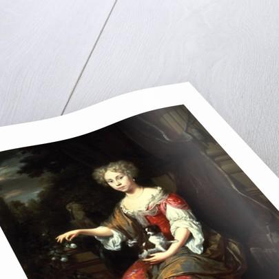 Portrait of a Lady holding her pet King Charles Spaniel by Jan Verkolje