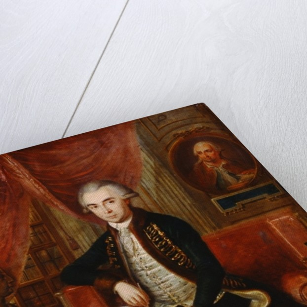 Portrait of Samuel Teleki with an oval portrait of Samuel Bruchental in the background by Janos Marton Stock
