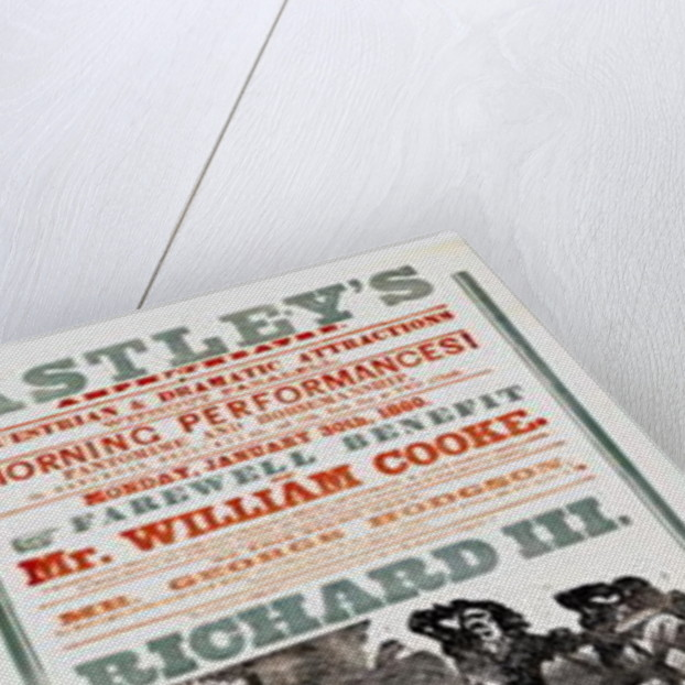 Astley's Circus poster advertising the Farewell Benefit of Mr. William Cooke by English School