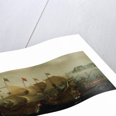 A Sea Action, possibly the Battle of Cadiz by Hendrick Cornelisz. Vroom