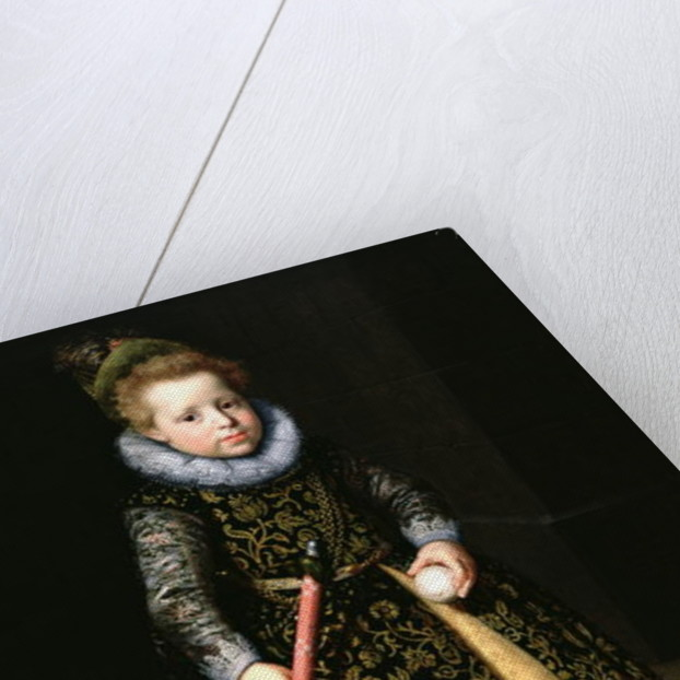 Portrait of a four-year old boy with club and ball by Paulus Moreelse