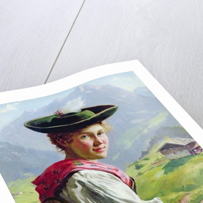 Girl with a Hat in Mountain Landscape by Emil Karl Rau