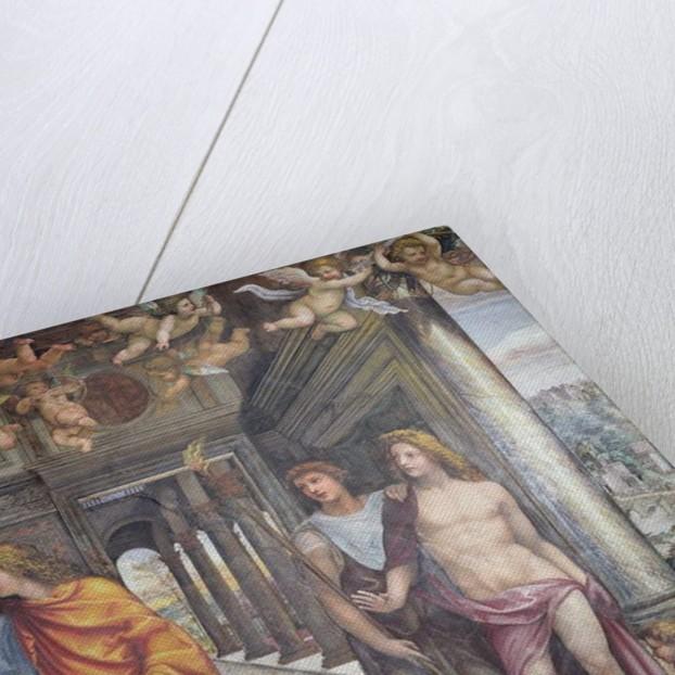 The 'Sala delle Nozze di Alessandro e Rossana' and Roxanne) detail of Alexander and two male attendants with putti above, c.1513 by Giovanni Antonio Bazzi Sodoma