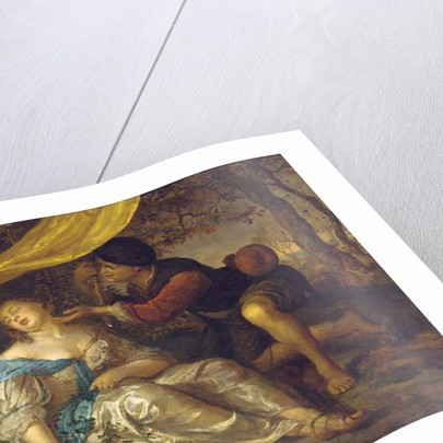 A shepherd kneeling over a lady sleeping under a canopy in a wooded landscape by Karel de Moor