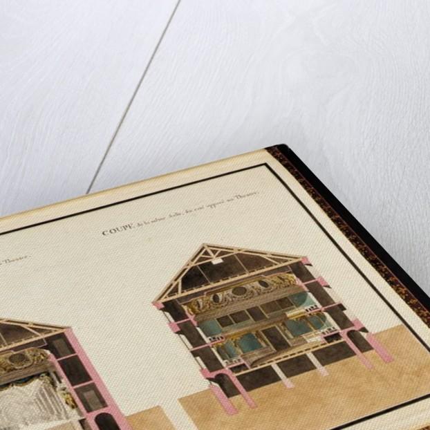 Coupe de la salle de spectacle du côté du théâtre & Coupe de la même salle du côté opposé au théâtre by Richard Mique