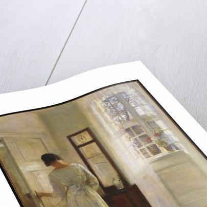 A Lady looking in a Mirror by an Open Door by Carl Holsoe