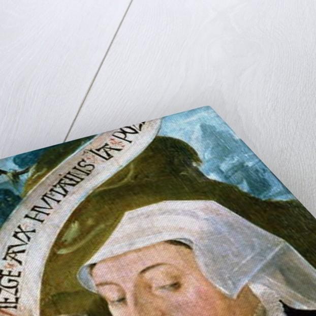 Portrait of Mme Jean de Mourette - tryptic detail of Saint Vulfran by Anonymous