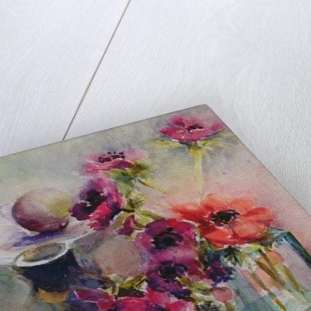 Anemones in Green Glass Vase, 2002 by Karen Armitage