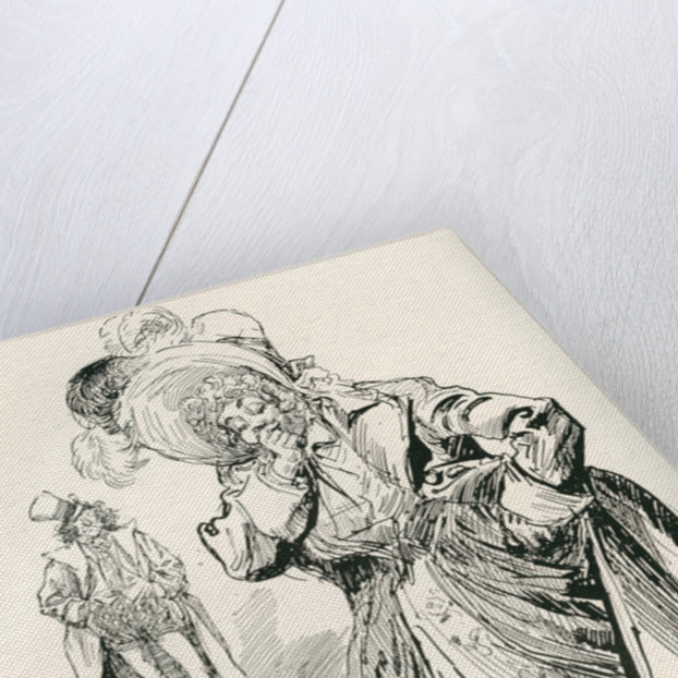 Major Tpschoffki. Illustration by Harry Furniss for a Charles Dickens Christmas story, Going Into Society by Anonymous