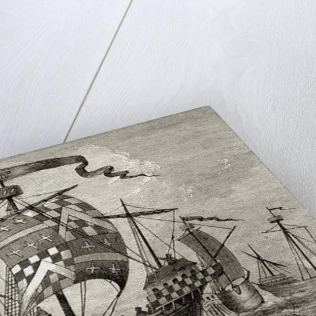 A 15th century warship by English School