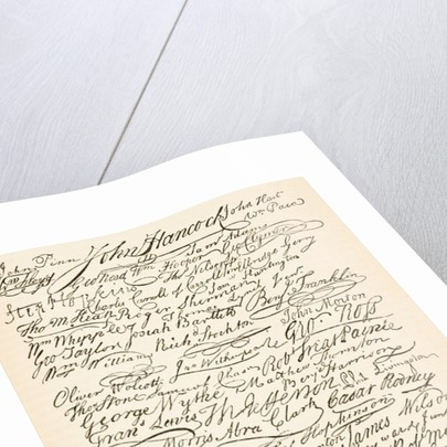 Signatures attached to the American Declaration of Independence of 1776 by English School