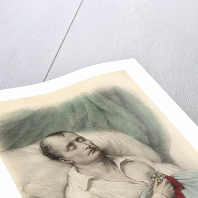 Napoleon I on his death bed holding the Cross of the Legion of Honour to his heart, St. Helena by French School