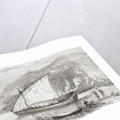 A dhow on the Congo River in the 19th century by Spanish School