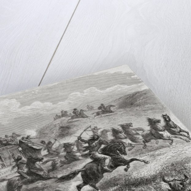 Indians attacking a transcontinental stagecoach in 1867 by Ange-Louis Janet